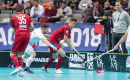 Filip Langer si v duelu se Švýcarskem připsal první gól na turnaji. Foto: Martin Flousek, Český florbal
