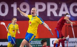 Švédsko slaví těsnou výhru nad Českem. Foto: Martin Flousek, Český florbal