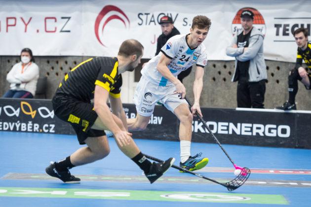 Další gól přidal Korych také proti Vinohradům. Foto: Martin Flousek, Florbal Mladá Boleslav