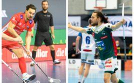 Ve švýcarském superfinále bude zadní řady Könizu zpevňovat Martin Kisugite (nalevo), útočné rejdy Wileru bude mít zase na starosti slovenský ostrostřelec Michal Dudovič. Foto: Swiss Unihockey