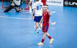 Filip Forman dal proti Finsku gól, na jeden nahrál a vstřelil také rozhodující nájezd. Foto: Martin Flousek, Český florbal